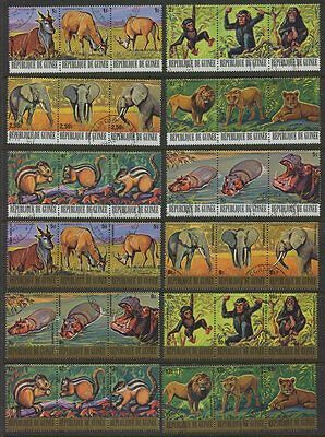 """Republic Guinea """"Wild Animals"""" - Collection of 36 Stamps in Strips of 3 CTO MUH"""
