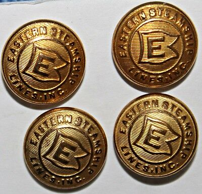4 Vintage  Eastern Steamship Lines Inc. Brass Buttons 1/2 Inches