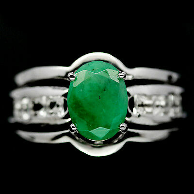 Captivating! Natural! Green Emerald &  Topaz Sterling 925 Silver Ring Size7.75