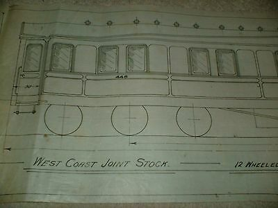 West Coast Joint Stock Railway Sleeping Carriage Qty One Drawing Edwards Bros