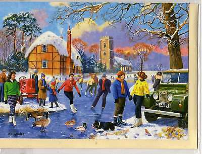 Land Rover & Christmas Ice Skaters--Christmas Print Card--Kevin Walsh