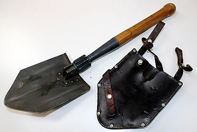 (1) Genuine Swiss Army Folding Hand Shovel & Leather Pouch