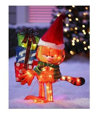 "24"" Holiday Garfield with Gifts Light Up Outdoor Decoration"