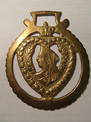 horse brass vintage equine collectable pair queen victoria