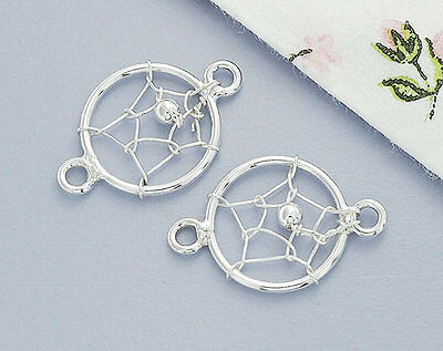 925 Sterling Silver 4 Dream Catcher Connectors,Links 10mm.
