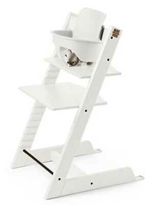 Stokke Tripp Trapp White Baby Toddler High Chair With Baby Set And Harness