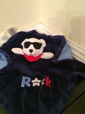 Baby Starters blue rock star security blanket rattle plush lovey toy NEW nwt