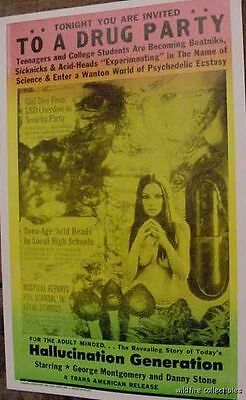 YOU ARE INVIITED TO A DRUG PARTY ECSTASY PSYCHEDELIC 60S  ART POSTER LSD acid X