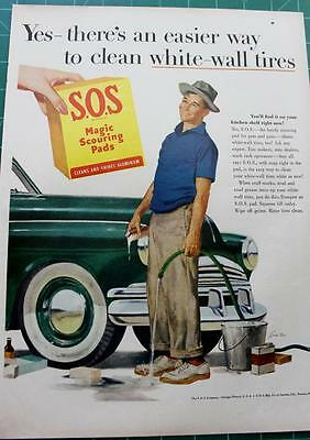 Vintage ad SOS majic scouring pads 1953 Color Wonderful Graphics