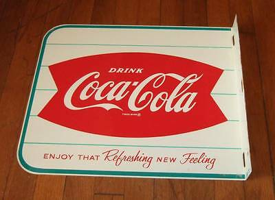 1960s Coca-Cola double sided fishtail flange sign~guaranteed original