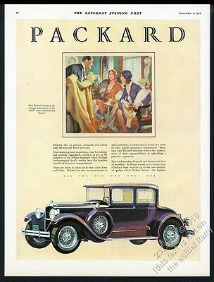 1929 Packard Coupe purple car showroom women art vintage print ad