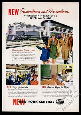 1947 New York Central railroad Dreamliner train art vintage print ad
