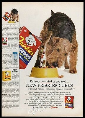 1958 Airedale Terrier photo Friskies dog food vintage print ad