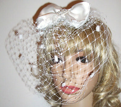 1940s 1950s Vintage Rockabilly Pin Up Burlesque Fascinator Diamonte Bow Hat
