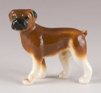 Vintage Miniature Bug House Bone China Boxer Dog Figurine Glossy Brown & White