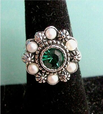"Silver Tone Green Ring with Pearls ""VIVA""  Sarah Coventry Jewelry - Vtg"