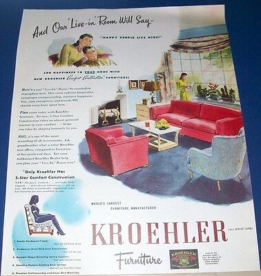 1945 Kroehler furniture Ad ~ living room sofa & chairs ~ Live-In Room