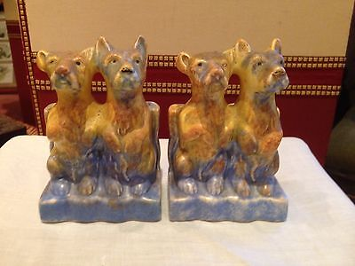 Beswick Art Deco Terrier Dog Drip Glaze Bookends c1930s Perfect