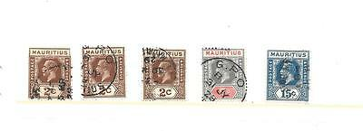 Mauritius Stamps - Year 1910-1926--5 watermarked stamps