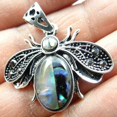 28*32MM Paua Abalone Seashell hand-carve insect PENDANT Crafts Jewelry S3