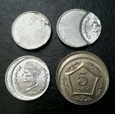 Pakistan 4 Error Coins 1 Re X 3 & 5 Rs X 1 Off Center & Without Milling Unc!!!