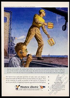 1945 US Navy aircraft carrier Landing Signal Officer art Western Electric ad