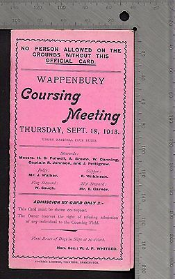 Greyhounds Hare Coursing Card - Wappenbury Warwickshire  Meeting Sep 18th 1913