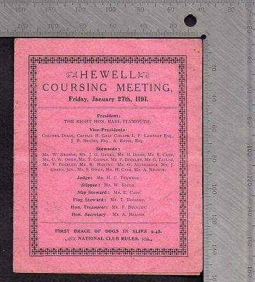 Greyhounds Hare Coursing Card - Hewell Warwickshire  Meeting Jan 27th 1911