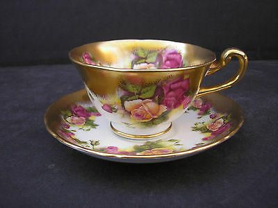 Royal Chelsea GOLDEN ROSE Bone China Cup and Saucer