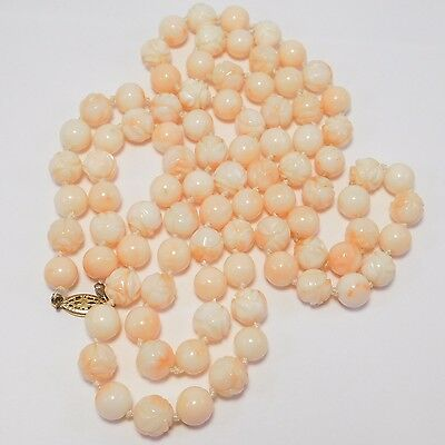 Beautiful 34 Inch Strand Angelskin Coral Beads Carved 8Mm