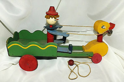 Vintage Duck with Wagon Folk Art Pull Toy