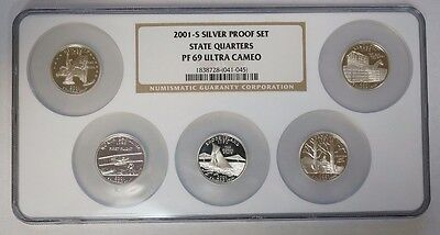 2001 S Silver Statehood Quarter 5 Coin Proof Set NGC PF69 Ultra Cameo