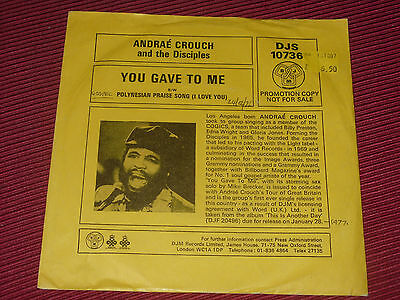 """Andraé Crouch And The Disciples  – You Gave To Me   EX+  7""""    PROMO"""