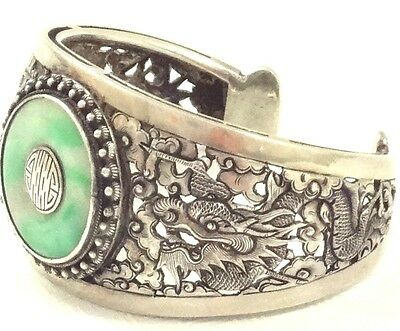 Old Solid Sterling Silver Jade Chinese Dragon Bracelet Cuff Xviii Century Export