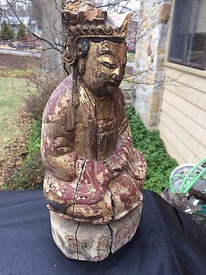 Antique Carved Wood Asian Figure