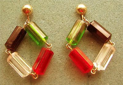 """VOGUE"" Plastic Beads Clip Earrings - Sarah Coventry Jewelry - Sara Cov - Vtg"