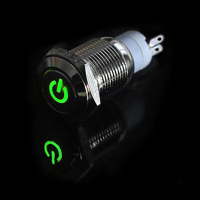 Car Truck Boat DIY 16mm 12V Aluminum Metal LED Power Push Button Switch Latching