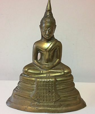 Vintage Antique Brass Budha Statue Figure Ornamemt Prayer Worship Meditate