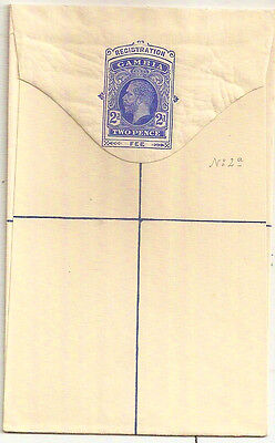 1912 Gambia KGV 2d registration envelope mint unused size F