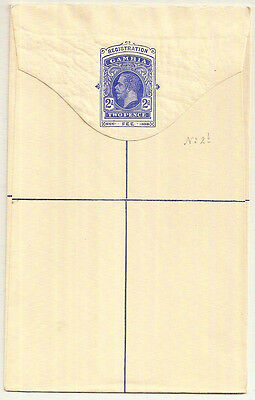 1912 Gambia KGV 2d registration envelope mint unused Size G