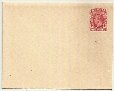 1912 Gambia KGV 1d red postal stationery envelope mint unused