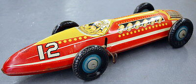 1940's Marx #12 Two Man Team 16'' TIN Wind-up RACE CAR (Missing Drivers)