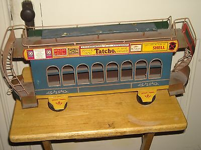 "Vintage Antique 21"" Tin Trolley Street Car Secondary car Toy"