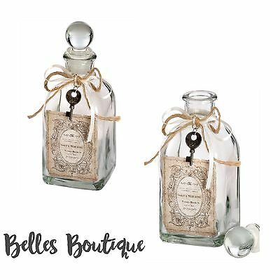 Shabby Vintage Chic Set Of 2 French Glass Bottles Dressing Table Display