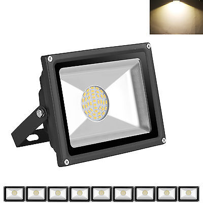 10X 85-265V 30W LED SMD Flood Light IP65 Outdoor Wall Lamp Warm White Floodlight