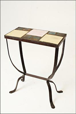 Vintage TILE TOP Wrought Iron Table plant stand metal planter mid century modern