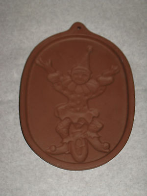 Friendship Pottery Cookie Stamp Press Child Clown on Unicycle Roseville, OH USA