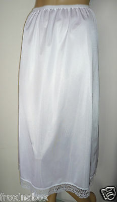 "White Maxi Half Slip Size 20/22 33"" Inches Length Cling Resist Long Underskirt"