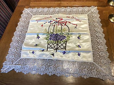 Beautiful Antique WWl Silk Embroidered Flower Cushion Cover, Souvenir Of France