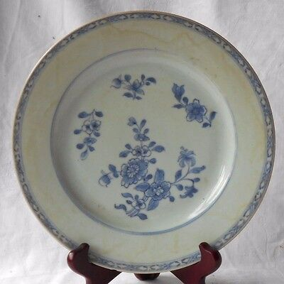C18Th Chinese Blue And White Plate Decorated With Flowers Within A Narrow Border